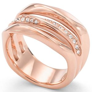 Fossil JF01321 Damen Ring Edelstahl rosé Glasstein Weiß 56 (17.8)