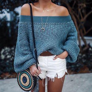 Mode Frauen solide schulterfrei gestrickt Warme lange Laternärmel Pullover Bluse HCM81026176 Größe:L, Farbe:Blau