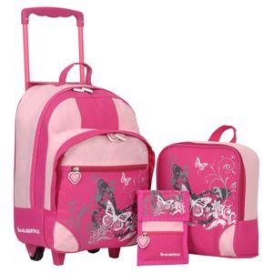 Keanu Kindertrolley 3er SET Reisegepäck stabil, höhenverstellbarem Griff, Reißverschlussfach, Reisekoffer Rucksack Brustbeutel (Butterfly - Fuchsia)