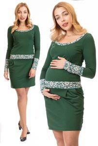 GFWL Umstandskleid Stillkleid #3in1 Schwangerschaftskleid Stillen GF8043XB in Grün (Dunkel-Mittelgrün) mit grünem Muster auf Weiß an Dekolette, Ärmel, Gürtel, Größe Damen EU:38 Medium