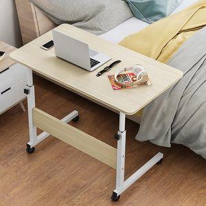 Laptoptisch Betttisch Notebooktisch höhenverstellbar Computertisch Pflegetisch Mit Rollen 80x40cm, Beige