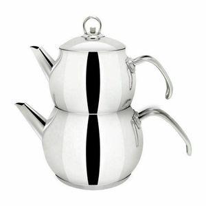 Türkische Teekanne Teekocher Teekessel 3 Größen Edelstahl Induktion Caydanlik , Größe:Klein 1.1 + 0.7 L