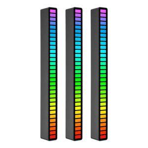 RGB Sound Control Rhythm Lights 3 PCS 32 LED 18 Farben Audio Spectrum Mode 5 Geschwindigkeitsstufen 4 Helligkeitsstufen TYPE-C USB Tragbares sprachaktiviertes Atmosphaerenlicht fuer Autospielraumdekoration Desktop DJ Studio Schwarz