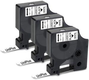 3x UniPlus Kompatibel Schriftband Ersatz für Dymo D1 12mm 45013 S0720530 Schwarz auf Weiß für Dymo LabelWriter 450 Duo Turbo LabelPoint 150 100 LabelManager LM160 LM280 LM210D LM360D LM420P LM500TS