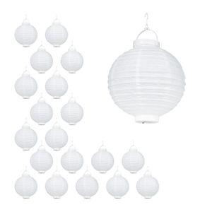 relaxdays 20 x LED Lampions weiß, Papierlaterne 20cm, Papierlampions rund, XXL Lampion Set