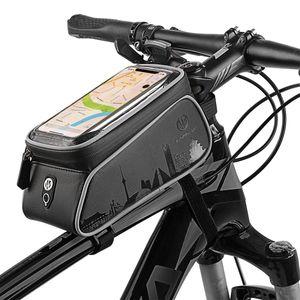 Multifunktions-Fahrrad-Rahmentasche wasserabweisend Smartphone-Halterung, Handy-Tasche für Fahrrad