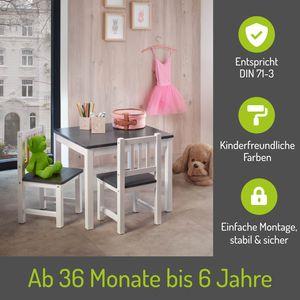 BOMI® Holzsitzgruppe für Kinder Amy aus Kiefer Massiv Holz für Kleinkinder, Mädchen und Jungen Grau Weiß