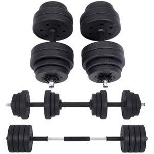 SONGMICS Kurzhanteln Set 30 kg Hantelset 2 × 15kg mit Verbindungsstahlrohr Workout Fitness Training, Gewichtheben für Zuhause Fitnessstudio schwarz SYL30HBK