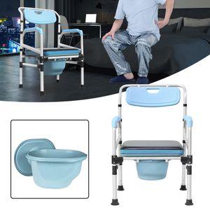 Hengmei Toilettenstuhl Nachtstuhl Höhenverstellbar mit Rückenlehneund antirutschenden WC-Stuhl
