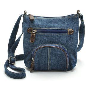 Lässige Umhängetasche   Schultertasche   Handtasche im Jeans bzw. Denim-Style