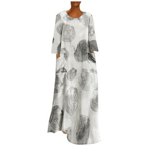 Mode Frauen Plus Size Printed O-Ausschnitt Langarm Big Pocket Loose Long Dress Größe:5XL,Farbe:Weiß