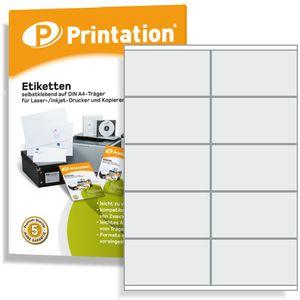 Printation Universal Etiketten 1000 Aufkleber 105 x 57 mm selbstklebend weiß bedruckbar - 100 A4 Bogen á 2x5 105x57 Labels - 3425 4425 LA161