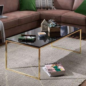 WOHNLING Couchtisch 120x45x60 cm Metall Holz Sofatisch Schwarz / Gold | Design Wohnzimmertisch rechteckig | Stubentisch mit Metallgestell | Kaffeetisch klein | Wohnzimmer Loungetisch modern