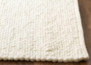 Steffensmeier Handwebteppich Birgsau, deutsche Produktion, Schlafzimmerteppich, Esszimmerteppich, weiß, 130x200 cm