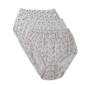 5er Pack Damen Taillenslip weiß mit Druck 100% Baumwolle Grössen 36/38 - 52/54, Größe:52/54, Farbe:weiss