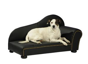 Ottomane Hunde-Korb Katzen-Korb in Leder-Optik / Kunstleder schwarz Vintage Barock, Größe:Größe 2