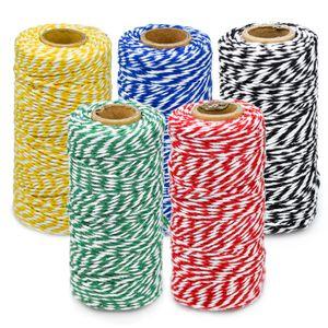 5 Rollen Bastelschnur Baumwollschnur mit Zwei Fäden Modisches und Einfaches Baumwollgarn für Dekoration DIY Geschenkverpackungen Basteln
