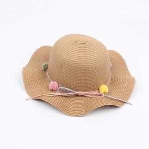 Sommer Kinder Maedchen Nette Blume Bowknot Stroh Sonnenhut Breiter Rand Laessige Faltbare Strandhuete