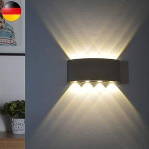 LED Wandleuchte Innen Warmweiß LED Wandleuchte Außen 8 W Wasserdicht IP65 Modern Up Down Light Wandleuchte aus Aluminium Wandleuchte für Badezimmer Flur Kinderzimmer Treppe Wohnzimmer