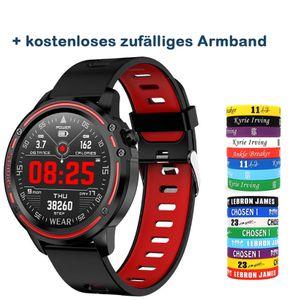 Smart Watch Sport Wasserdichte Smartwatch Fitness Tracker mit Herzfrequenz Blutdruck Blutsauerstoff Schlafmonitor und Kalorien Kompatibel für iPhone / Android (Rot)