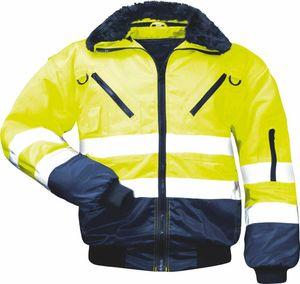 GUNNAR Warnschutzjacke 4 in 1 gefüttert Pilotjacke gelb marineblau, Größen:3XL