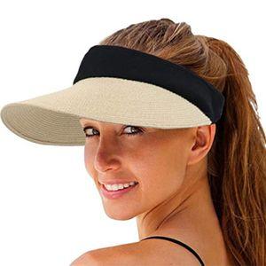 Strandhut Khaki Frauen Sonnenstrohhut Breite Krempe Sonnenschutz Sommer UV-Schutz für Strand, Golf, Reise Sonnenhut einstellbar