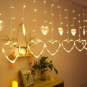 LED Herz Vorhang Lichterketten 138 LEDs Lichternetz Lichtervorhang Hochzeit Valentinstag Party Xmas Deko, Warmweiß