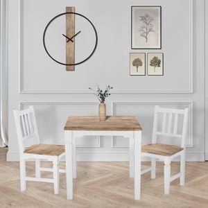 WOMO-DESIGN Esstisch Tianjin 80 x 80 x 76 cm, Quadratisch, Natur/Weiß, Massivholz Mangoholz, Landhaus-Stil, Köchentisch Esszimmertisch Holztisch Speisetisch Wohnzimmer Tisch