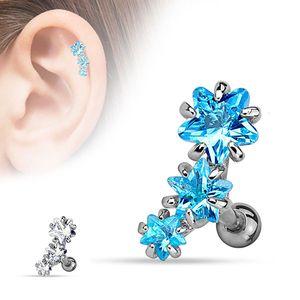 "Tragus Cartilage Helix Ohr Knorpel Piercing ""3 Sterne"", Farbe:Aqua"