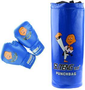Boxsack Set Gefüllt Kickboxen MMA Kampfsport Handschuhe Gepolstert - ideal für Jungen und Mädchen (Alter 3-12)