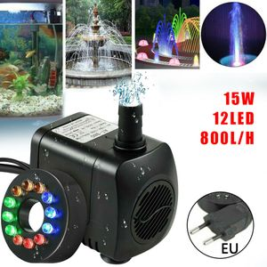 Miixia 15W 800l/h Springbrunnenpumpe Teichpumpe Wasserspielpumpe Gartenpumpe Pumpe Springbrunnenmit 12 Bunt LED