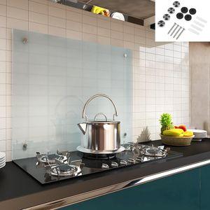 Küchenrückwand Spritzschutz Fliesenspiegel Küche Wandschutz Glas 6mm ESG Milchglas - 100x50CM