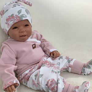 Baby Mädchen Set 3-teilig Body Hose + Mütze Gr. 56 Blumen