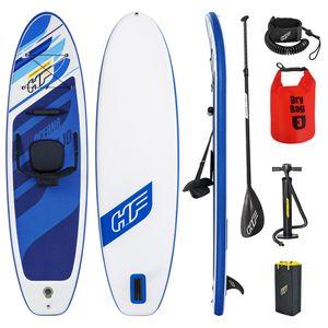 Bestway SUP Stand Up Paddle Board |130kg|305x84x12cm|Kajak Option |aufblasbar Surfbrett iSUP mit Paddel Sitz und Leash