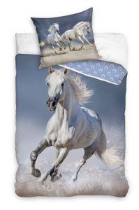 Pferde Kinder-Bettwäsche 80x80 + 135x200 cm · Mädchen-Bettwäsche mit Pferd - 100% Baumwolle