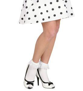 Damen Söckchen mit Spitzenrüsche Weiß 70 DEN 50's Rockabilly