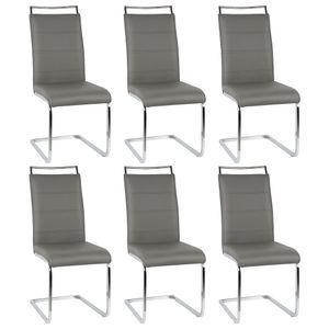 6er Set Esszimmerstühle Stühle  Freischwinger Stühle Bow Esstischstuhl Küchenstuhl Barstuhl - hohe Rückenlehne, Grau