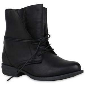 Mytrendshoe Damen Schnürstiefeletten Warm Gefütterte Stiefeletten Winter Boots 892491, Farbe: Schwarz, Größe: 38