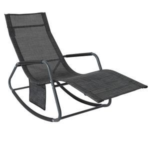 SoBuy OGS47-MS Schaukelliege Sonnenliege mit Seitentasche Gartenliege Relaxstuhl Schwingliege Schwarz/Grau Belastbarkeit 150 kg