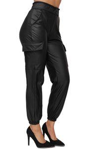 Damen Cargo Hose Lederoptik Stretch mit Gummibund High Waist Ankle Pants Gefüttert, Farben:Schwarz, Größe:XL-XXL