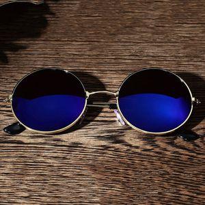 M?nner Frauen Retro Vintage Runde verspiegelte Sonnenbrillen Brillen Outdoor Sport Blau