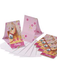 Amscan Einladungen mit Umschlag Pferden 6 Stück 14 cm rosa