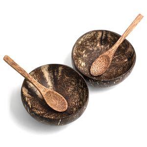 Coconut Bowl Schüssel mit Löffel 2er Set Vegan Buddha Bowl Kokosnuss Schale Smoothie Porridge