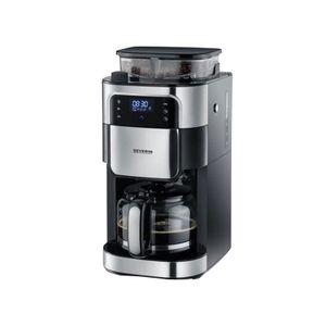 SEVERIN KA 4813 Kaffeeautomat mit Mahlwerk schwarz/Edelstahl, Farbe:Schwarz/Edelstahl