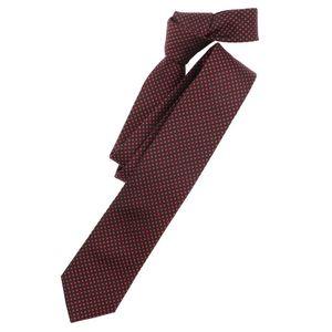 Venti Krawatte Dunkelrot Kariert 100% Seide 6cm Breit Schmale Form Fleckenabweisend