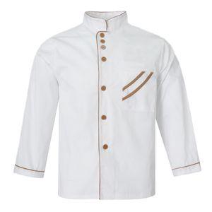 Hotelküche Chef Jacke Coat Restaurant Kochuniform Lang  / Kurzarm L Weiß Hut - Grün