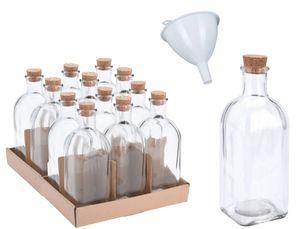 12x Apotheker Glas Flaschen 500ml inkl. Trichter Korkverschluss Korken Oelflaschen Glasflasche Leer