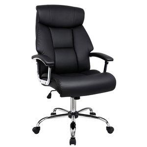 Amoiu Bürostuhl, Drehstuhl, ergonomischer Schreibtischstuhl, Chefsessel mit gepolsterten Armlehnen und Kopfunterstützung, Höheverstellbar, Schwarz