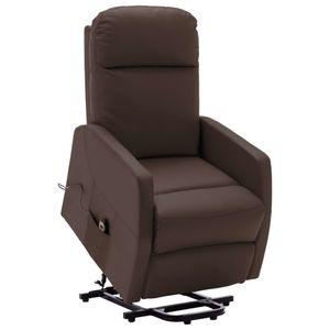 Mllaid Sessel mit Aufstehhilfe Braun Kunstleder