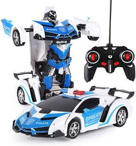 Ferngesteuertes Auto, 2 in 1 Transformator Roboter Auto, One-Touch-Transforming Ferngesteuert Transformers Auto & Robot Verwandelbar, Auto Spielzeug Lernspielzeugset für Kinder, Lamborghini Blue White
